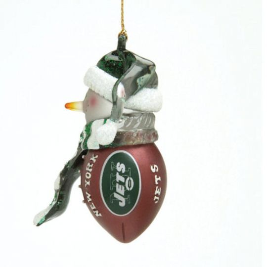 scottish christmas new york jets acrylic striped touchdown snowman