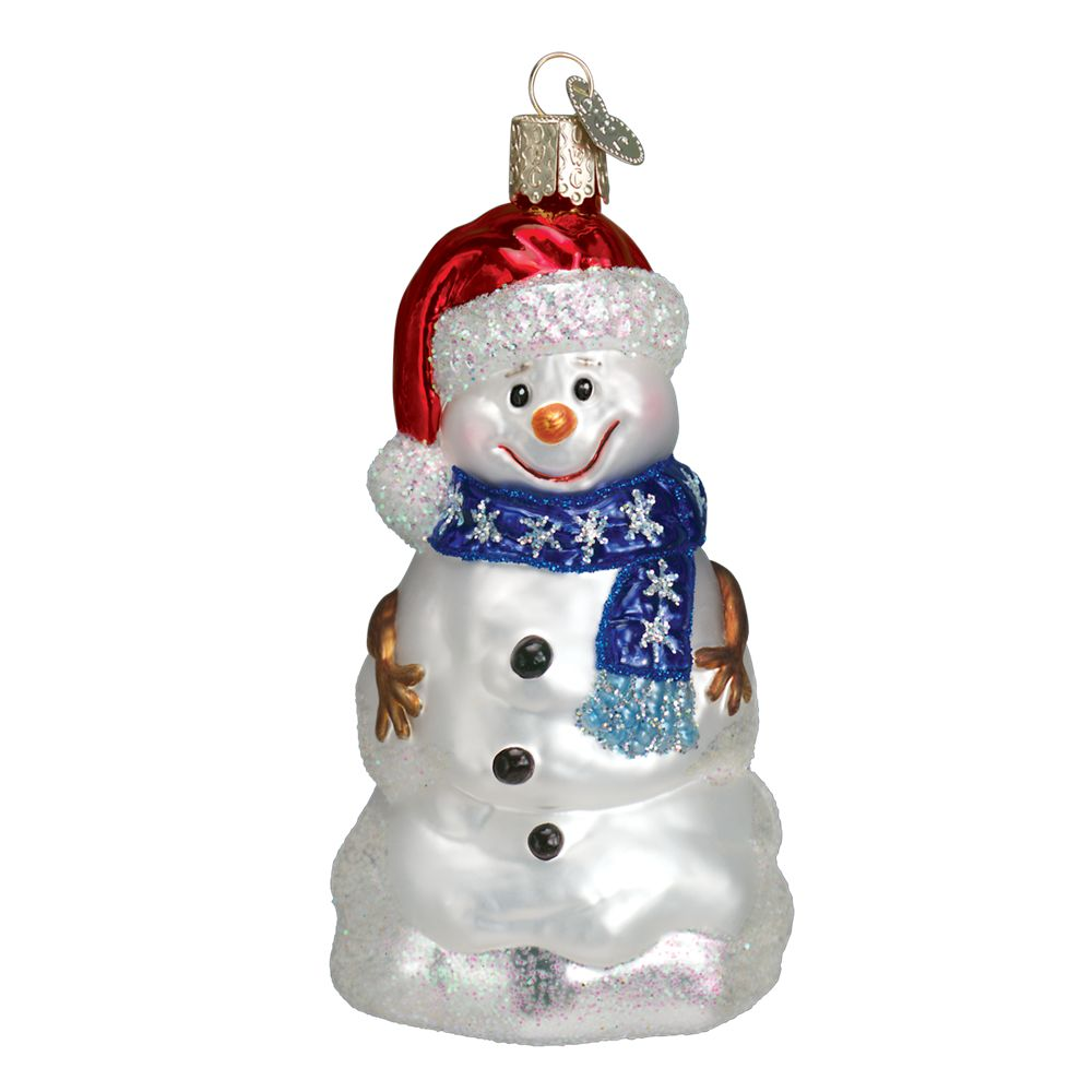 Decorate Christmas Tree Like Snowman: Old World Christmas Happy Snowman With Blue Scarf Glass
