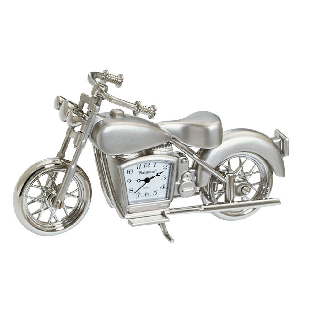 Sanis Enterprises Silver Motorcycle Desk Clock Fitzula S