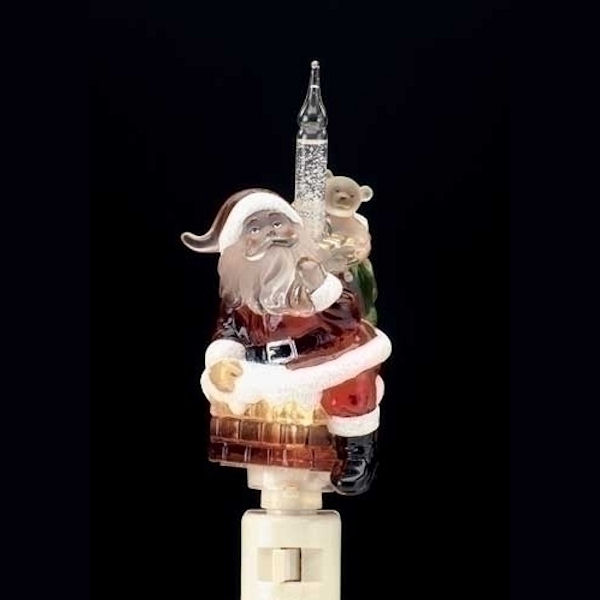 Roman Santa Climbing Down The Chimney Bubble Nite Lite