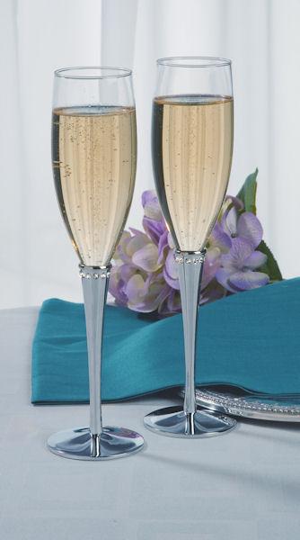 crystal ring silver stem toasting flutes