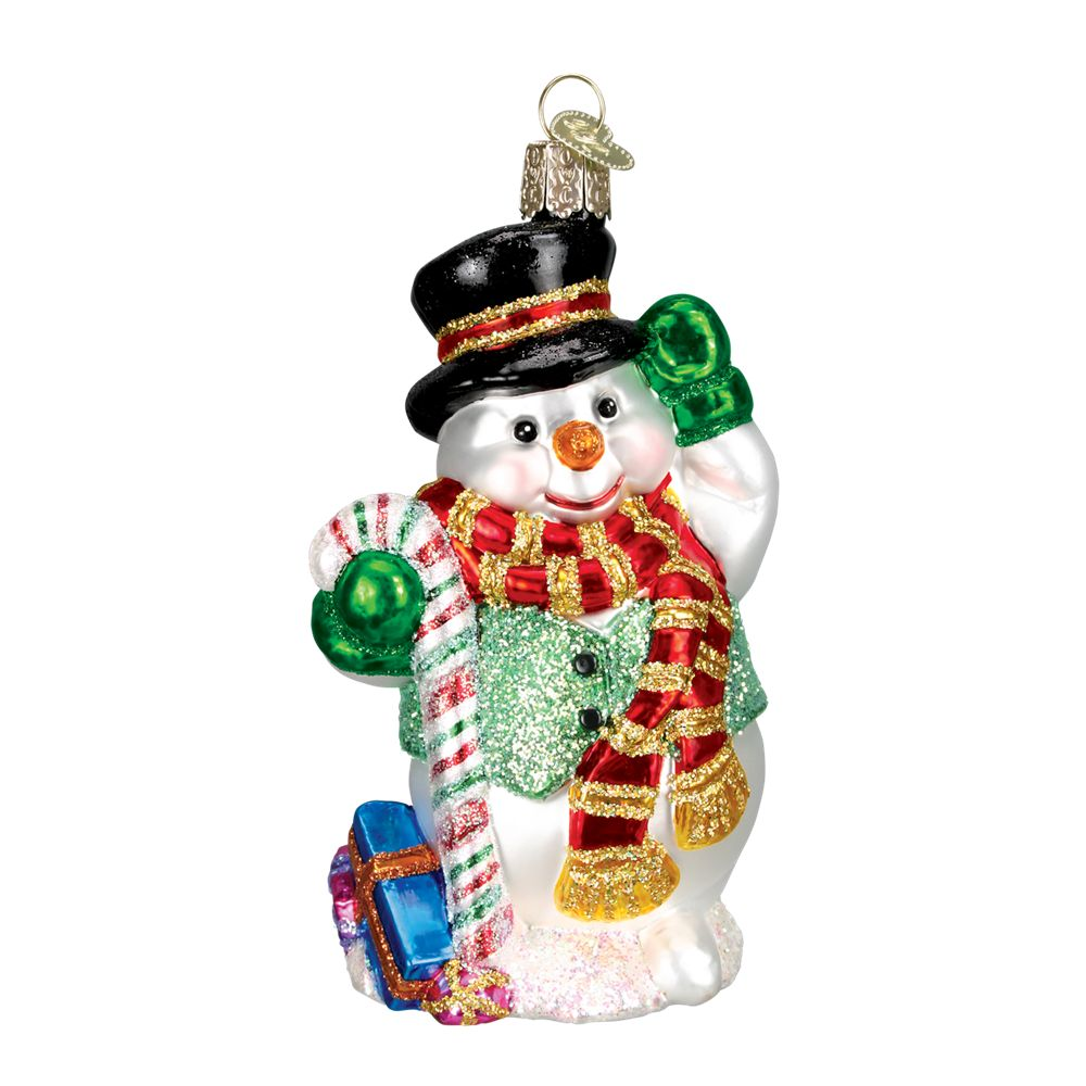 Old World Christmas Candy Cane Snowman Ornament: Fitzula's