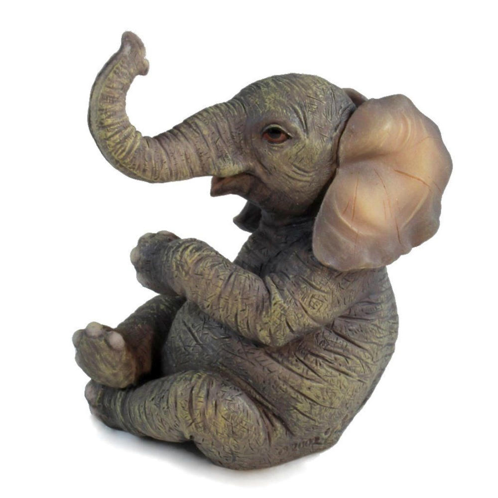baby elephant sitting crossing two legs sculpture fitzula 39 s gift shop. Black Bedroom Furniture Sets. Home Design Ideas