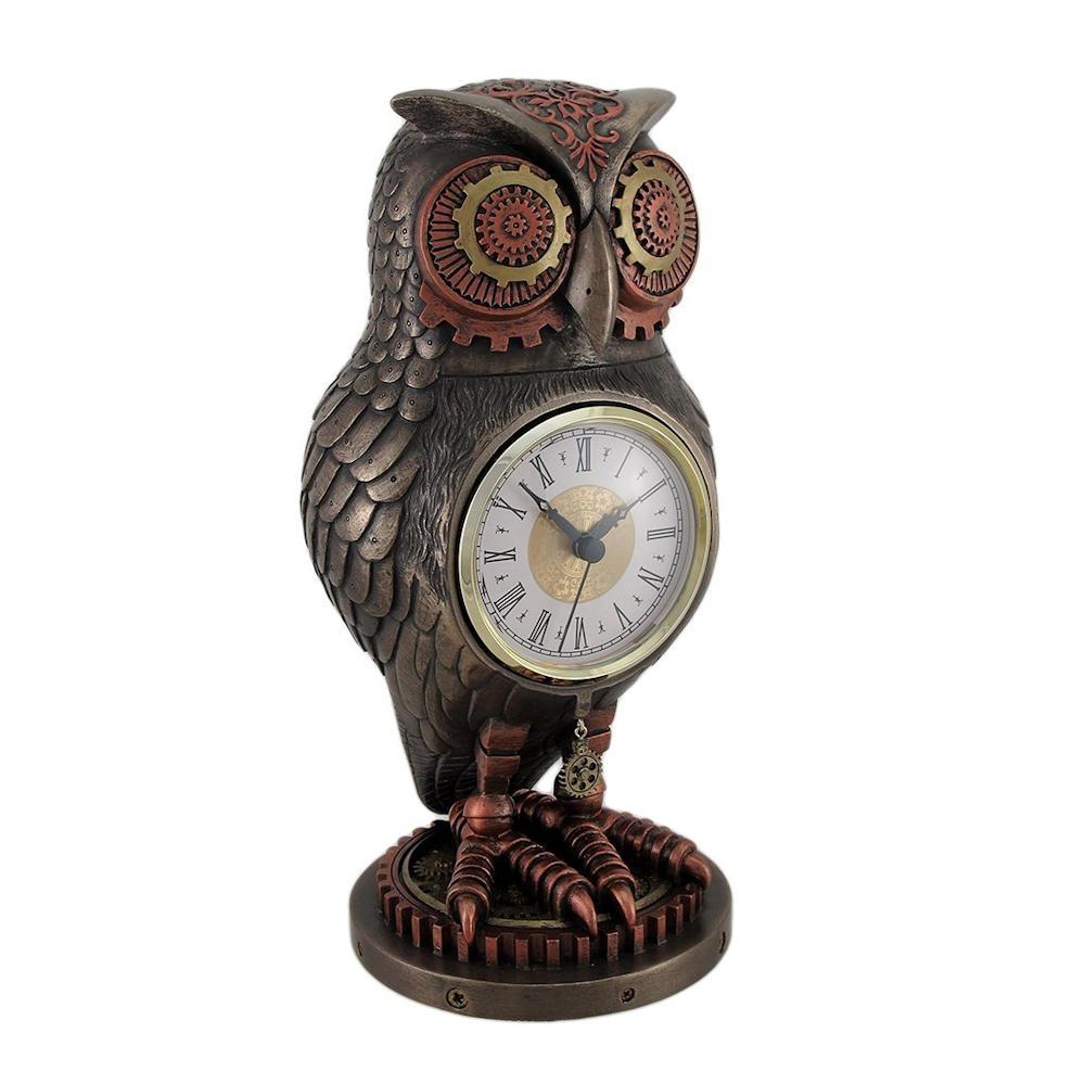 Bronze copper finish steampunk owl mantel clock fitzula 39 s gift shop - Steampunk mantle clock ...