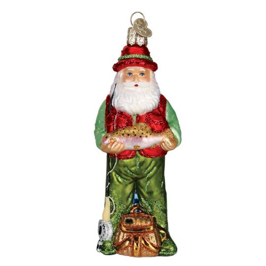 old world christmas fly fishing santa ornament